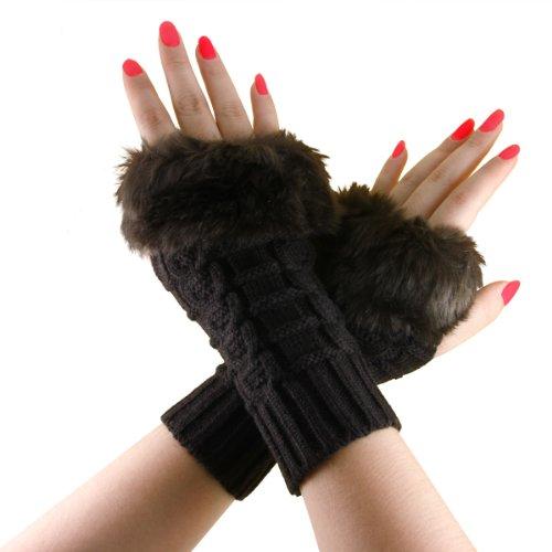 キャメル不完全なブレース(Baoxinjp) 秋冬 レディース手袋 可愛い ニット グローブ 指開き スマホ対応 運転対応 防寒 フェイクファー ミディアム 22CM ベージュ