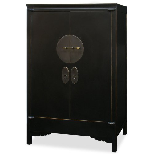 - ChinaFurnitureOnline Hand Crafted 42in Ming Style Elmwood Wedding Cabinet - Black