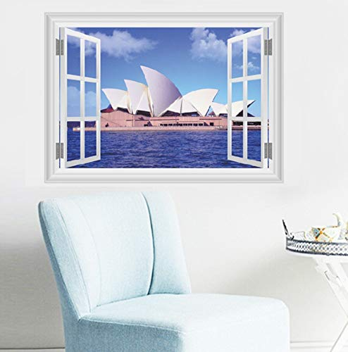 sansiwu Q 3D Stereo Sydney Opera House Simulation Window Bedroom Background Wall Decoration Wall Sticker Mural