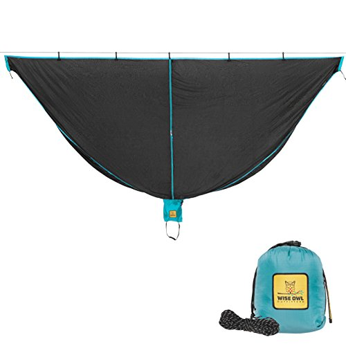 Hammock Bug Net - SnugNet by Wise Owl Outfitters - The Perfect Mesh Netting Keeps No-See-Ums, Mosquitos and Insects Out - Black & Blue