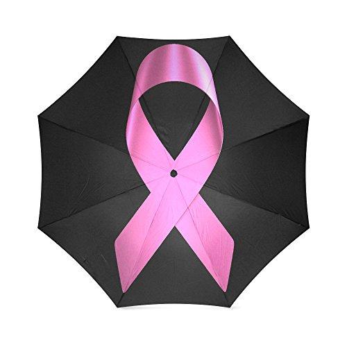 Breast Cancer Awareness Pink Ribbon Compact Foldable Rainproof Windproof Travel Umbrella (Stand Patio Umbrella Diy)
