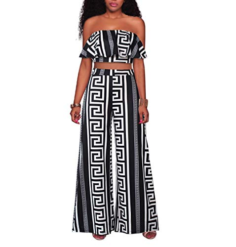 YSJERA Women's 2 Pieces Outfit Floral Sleeveless Tube Top Palazzo Long Pants High Waist Jumpsuits (S, H Black ()