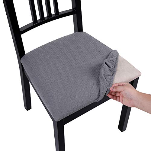 Homaxy Premium Jacquard Dining Room Chair Seat Covers, Washable Spandex Stretch Dinning Chair Upholstered Cushion Cover, Waffle Slipcover Protectors with Ties - Set of 4, Light Gray