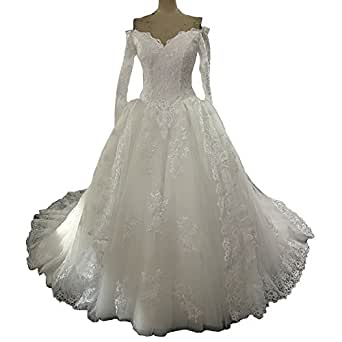 Banfvting Lace-Up Wedding Dress Bridal Gowns with Long Sleeves