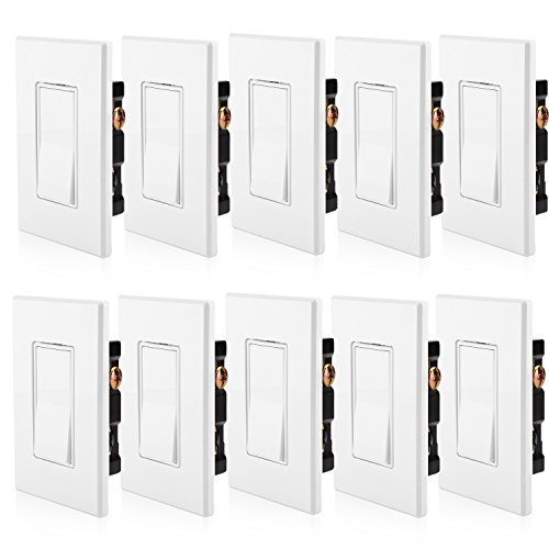 [10 Pack] BESTTEN Single-Pole Decorative On/Off Rocker Wall Light Switch, Screwless Wall Plate Included, Residential & Commercial Grade, Grounding, UL Listed, White
