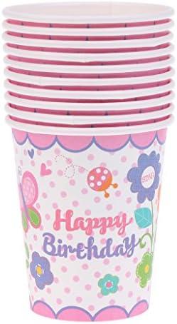 10ピース入り ハッピーバースデー カップ 使い捨て パーティー食器 ピンク