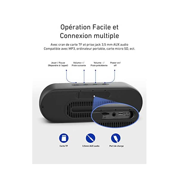 Enceinte Portable Bluetooth 5.0, VTIN R4 Haut Parleur Bluetooth 12W, Enciente Waterproof, 24H de Lecture, avec Microphone, Support AUX/TF, pour Téléphone Portable, Tablette, Soirée, Voyage 6