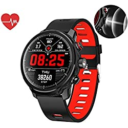 Smart Watch,Waterproof IP68 Music Control,Heart Rate Monitor Fitness Tracker,Flashlight,Pedometer Watch Kids Women Men,Compatible with iPhone Samsung S9,Red