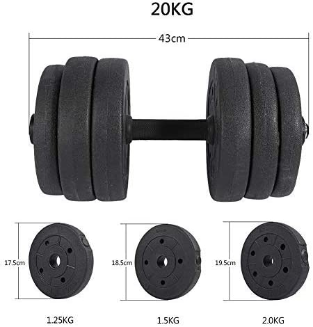 GOTOTOP 20 kg Dumbbell Set Plastic Dumbbells with 43 cm Dumbbell Bars and Spinlock Collars for Strength Training and Strength Endurance