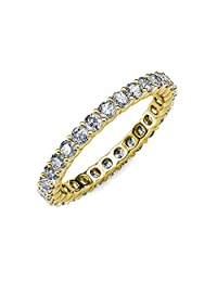 TriJewels Round Lab Grown Diamond Common Prong Womens Eternity Ring Stackable 1.47 ctw to 1.75 ctw 14K Gold