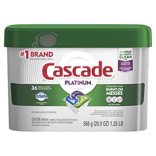 Cascade Platinum ActionPacs Dishwasher Detergent, Fresh Scent, 20 oz (Packaging May Vary) (Premium Cascade)