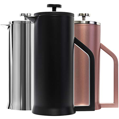 Lafeeca Stainless Steel French Press Coffee Maker – Double Wall Vacuum Insulated – 30 oz Black