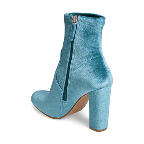 Side Women 15 Turquoise Boots Shoes Toe Size Zipper Velvet Heels High Ankle Comfort US Round Dress Chunky Elegant 4 raxBqwrnp7