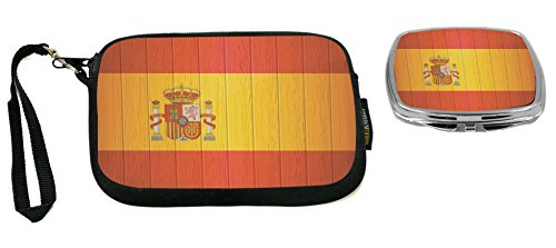 Rikki Knight Spain Flag on Distressed Wood Design Neoprene Clutch Wristlet with Matching Square Compact Mirror by Rikki Knight