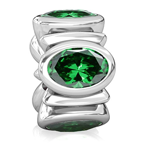 Green Oval Charm (BELLA FASCINI Dark Green Signature Oval CZ Lights - Silver European Charm Beads Fit All Compatible)