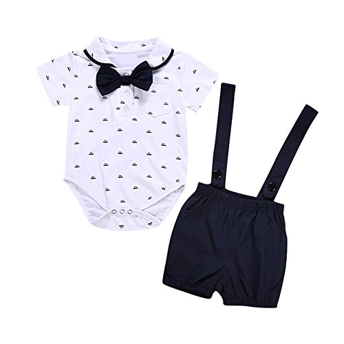 Baby Infant Bow Tops Print Romper + Strap Shorts for 0-2 Years Old Boys (12-18 Months, Black) - Boys Outfits Shirt