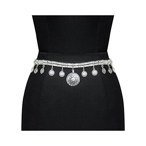 Boosic Coin Tassel Belly Chains for the Waist, Women Silver