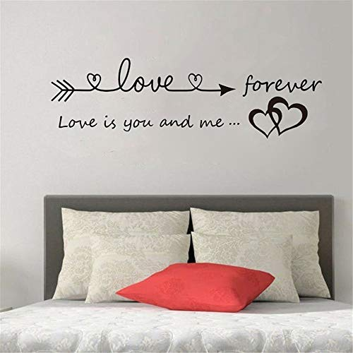 Quaanti Love is You and Me Words Love Heart Home Bedroom Decor Wall Sticker Friend Student Gifts School Office Mural (Black) by Quaanti (Image #1)