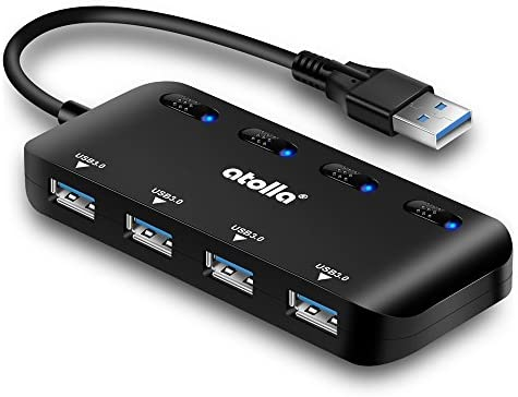 USB 3.0 Hub Splitter - USB Extender 4 Port USB Ultra Slim Data Hub with Individual Power Switch and LED