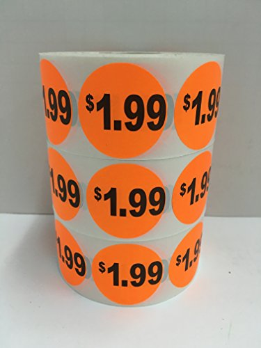 "1000 Labels 1.5"" Round Orange $1.99 Price Point of Sale Pricing Inventory Control Retail Stickers 1 Roll"