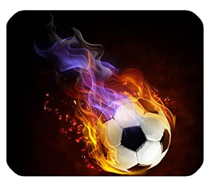 Amazon Com Cool Fire Soccer Balls Rectangle Mousepad Customize