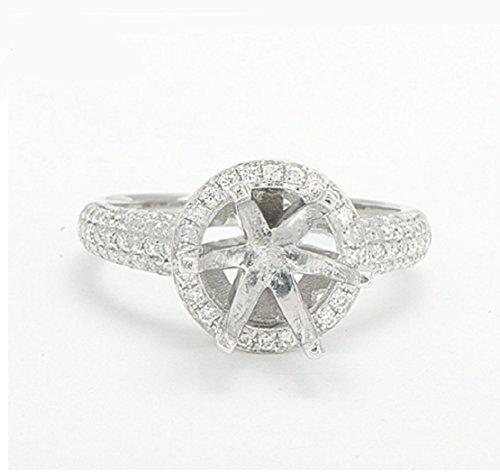 (GOWE 7.5mm Round 14K White Gold Natural Pave Set Diamond Semi Mount Setting Ring)