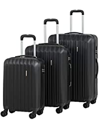 """Travel 3 Pieces ABS Luggage Sets Hardside Spinner Lightweight Durable Spinner Suitcase 20"""" 24"""" 28"""", 3PCS Black"""