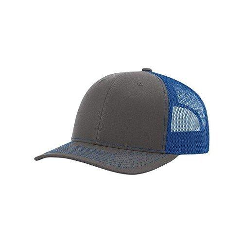 Richardson Charcoal/Royal 112 Mesh Back Trucker Cap Snapback Hat (Crown Royal Cap)