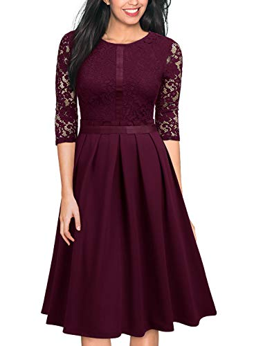 (MISSMAY Women's Vintage Half Sleeve Floral Lace Cocktail Party Pleated Swing)
