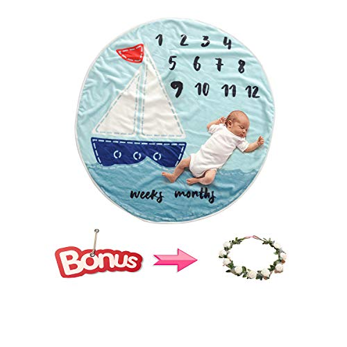 CASOFU Baby Blanket, Circle Round Flannel Monthly Milestone Blanket for Boys Girls, Photography Props Backdrop for Newborn, Gift for New Mom and Baby. 36inch(Sailboat)
