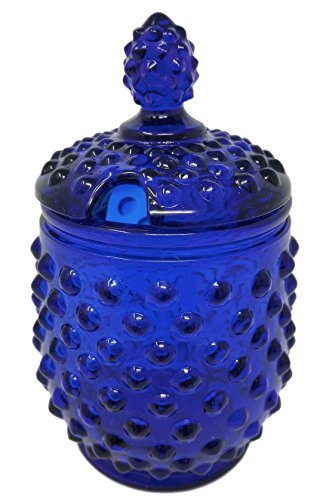 Rhyne and Son Reproduction Hobnail Glass Sugar Jar with Lid Opening (Cobalt (Blue Glass Hobnail)