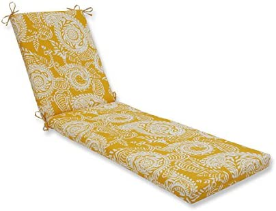 Pillow Perfect Outdoor Indoor Addie Egg Yolk Chaise Lounge Cushion, 80 x 23 , Yellow