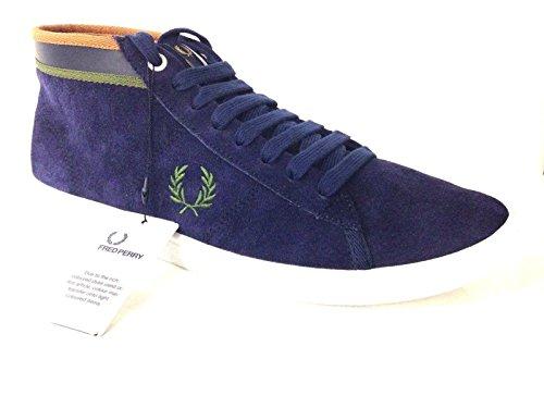 Fred Perry Scarpe Uomo Sneaker Alto Camoscio Blu RIF Verdi Cuoio
