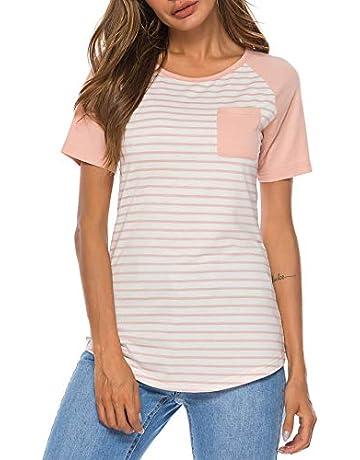 b60f07a7ec5 WOAIVOOU Women Striped Shirts Raglan Short Sleeve Baseball T Shirts Casual  Loose Blouse Tops