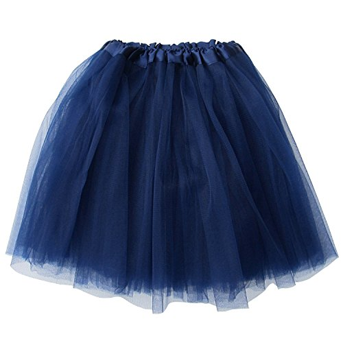 So Sydney Adult Size 3-Layer Tutu Skirt - Princess Costume Ballet Party Warrior Dash/Run (Navy Blue),One Size -