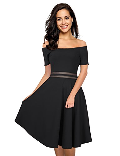 GloryStar Women Off Shoulder Slim Fit Midi Dress Cocktail Wedding Party Maxi Dress Black M
