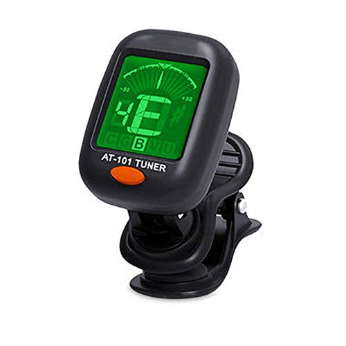 XWU Clip On Guitar Tuner for All Instruments, Ukulele, Guitar, Bass, Mandolin, Violin, Banjo, Large Clear LCD Display for Guitar Tuner, Chromatic Tuner