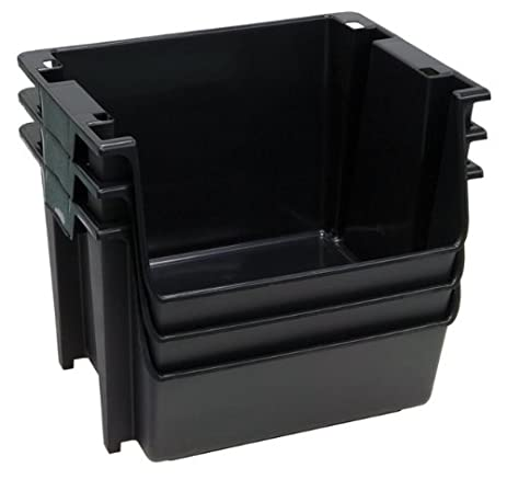 Great United Solutions SB0121 Set Of Three Large Plastic Nesting/Stacking Storage  Bins In Black