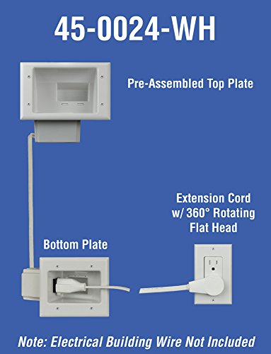 DataComm Electronics 45-0024-WH Recessed Pro-Power Kit with Duplex Receptacle and Straight Blade Inlet Photo #5