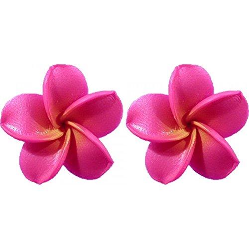 - Fimo Flower Pierced Small Earrings Plumeria Pink