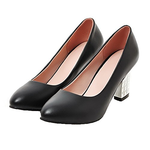 Odomolor Women's Pu Pull-On Closed-Toe High-Heels Solid Pumps-Shoes Black PEUwezTHIj
