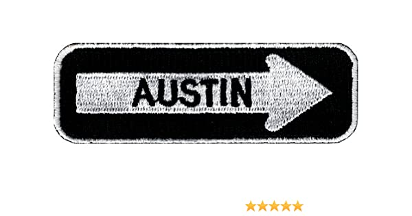 AUSTIN ONE-WAY SIGN EMBROIDERED IRON-ON PATCH applique TEXAS SOUVENIR ROAD