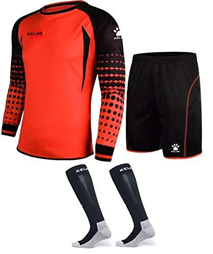 Goalkeeper Shirt Uniform Bundle - Includes Jersey, Shorts & Socks - Protection Pads on Shorts & Shirt (Orange, Kids 10)