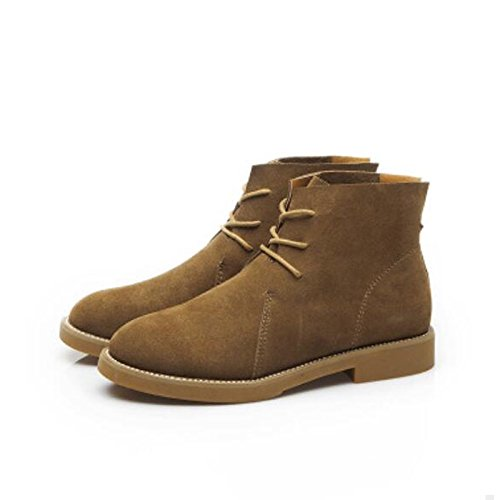 ZHZNVX HSXZ Zapatos de Mujer Otoño Invierno PU Confort Botas de Tacón Chunky Round Toe Botines/Botines for Casual Caqui Negro,Caqui,US6/UE36/UK4/CN36 36.5 EU