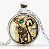 Steampunk Cat Pendant. Steampunk Cat Necklace. Steampunk Retro jewelry. Birthday gift, Gifts for Him, Gifts for Her