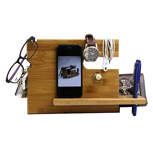 Price comparison product image Lieomo handmade Bamboo Phone Docking Station with Key Holder,  Pen Holder,  Wallet and Watch Organizer Men's Gift
