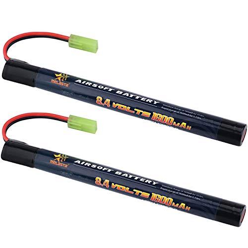 Paquete de batería melasta 2Pack 2 / 3A 8.4v 1600mAh Stick NIMH Airsoft Guns con conector Mini Tamiya
