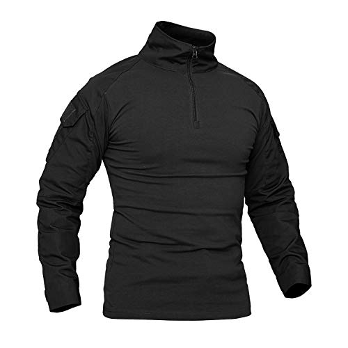 CRYSULLY Men Autumn Mountain Climbing Ripstop Shirt Army Uniform Shirt Tan OCP Combat Shirt BDU Shirt Black