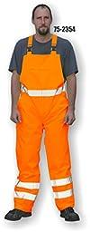 Majestic Glove 75-2354/M Bib Rain Pants, Pu Coated, High-Vis, Class E, Medium, Orange