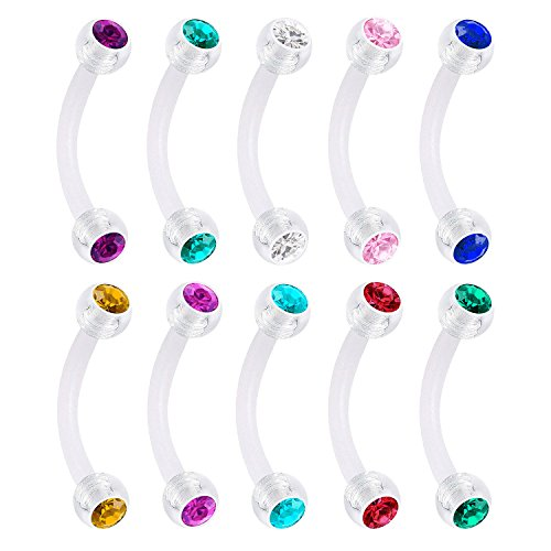 (vcmart 14g 16g Clear Rings Eyebrow Rings Retainer Bar Barbell Belly Button Rings Acrylic Bioflex Piercing Body Jewelry)